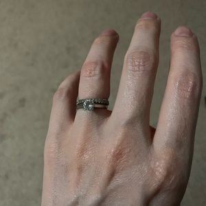 Sterling Silver Engagement Ring and Wedding Band